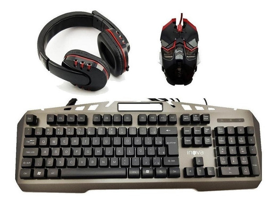 Kit Gamer Teclado E Mouse Com Fone Km6526