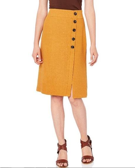 Falda Midi Color Mostaza Para Mujer