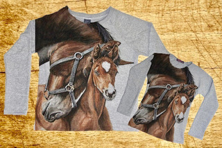 1 Blusa De Moletinho Adulto + 1 Infantil Estampa De Cavalo