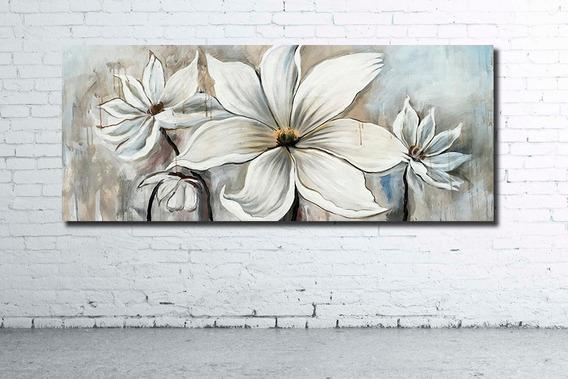Elegante Mural 128x52cm Cuadro Moderno Flores Variadas Decoracion Diseño Personalizado