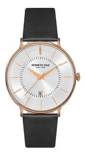 Reloj Kenneth Cole Kc15097002 Malla Cuero Negra