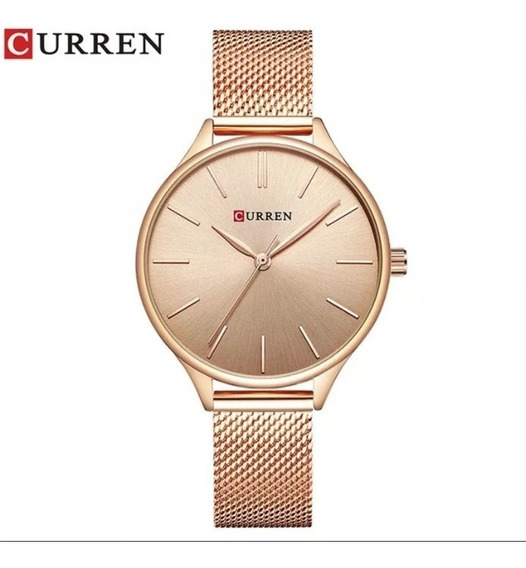 Relógio De Luxo Feminino Curren 9024 Rose Quartzo