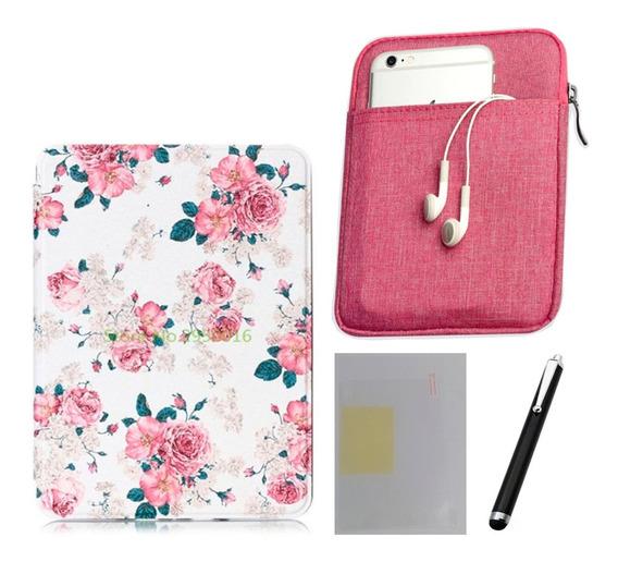 Capa Case Kindle Paperwhite (10ªg) - Rosas + Bolsa Rosa