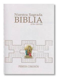 Nuestra Sagrada Biblia Letra Grande Blanca Primera Comunion