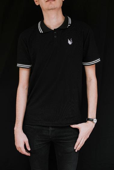 Black Wings Camisa Tipo Polo Blanco Con Negro