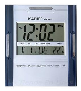 Reloj Pared Kadio Digital Kd3810 Hora Fecha Alarma Termometr