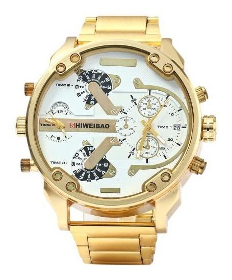 Relógio Shiweibao Dourado Ouro Masculino Importado Aço Inox
