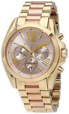 Relógio Michael Kors Mk6359 Dourado Fundo Rosa