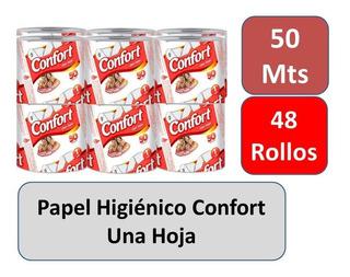 Papel Higiénico Confort 50 Mts Una Hoja 48 Rollos
