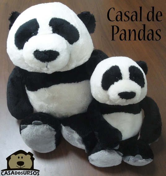Casal De Ursos Panda 35cm + 25cm Importado Alemanha Nici