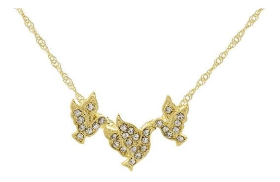 Colar Cordão Corrente Feminina Dourada Pássaros Dourados