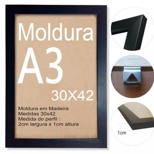 Moldura 30x42 A3 Quadro Poster Banner - Com Vidro
