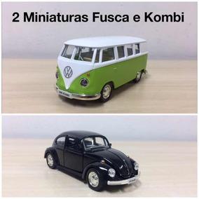 Kit Carrinho Miniatura Kombi + Fusca Coleção Original 13cm