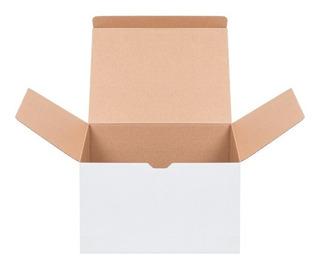 25 Cajas De Cartón Suajada Microcorrugado Blanco 22x12.3x14