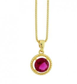 Colar Banhado Ouro 18k, Cristal Rubi Dourado Sku 10490
