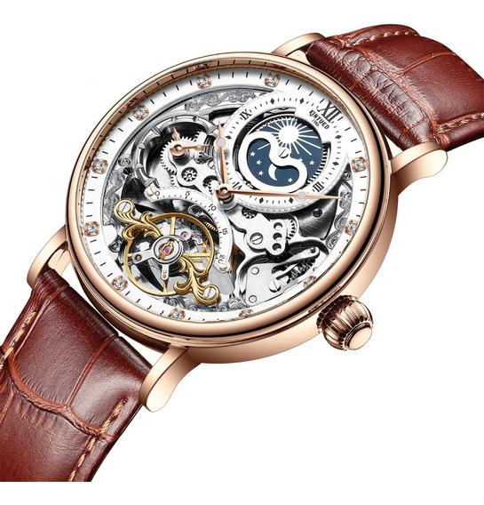Reloj Para Hombre Automático Mecánico Kinyued Cafe J0551 Sk