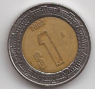 Mexico Moneda Bimetalica 1 Peso Año 2000 !!