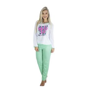 d9729d26a Pijamas Femininos Inverno Malha Fria - Roupa de Dormir Pijamas Verde ...