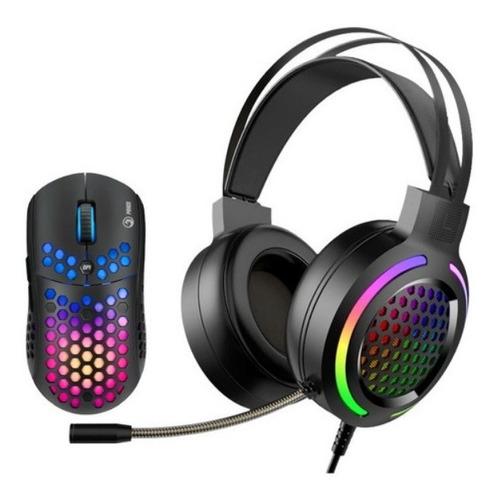 Imagen 1 de 5 de Combo Audifonos Y Mouse Gaming Mh01 Marvo Rgb