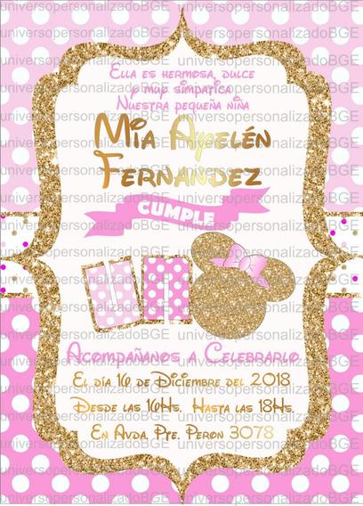 Invitacion Digital Minnie Dorado