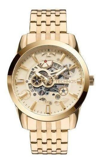 Relógio Technos Masculino Ref: 8205nq/4x Automático Esquelet