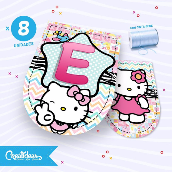 Hello Kitty Banderines Personalizados Grandes Pack X8