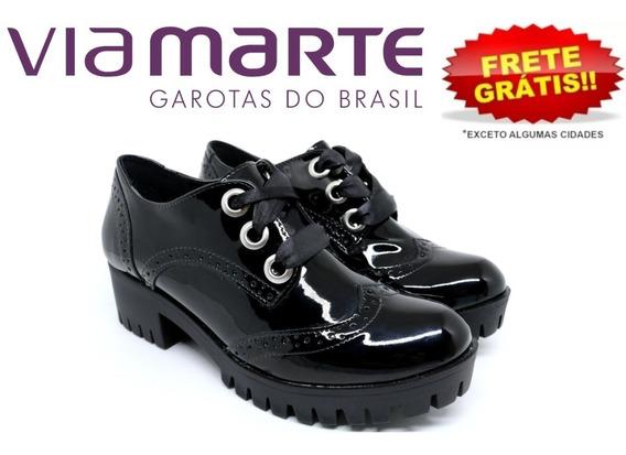 Sapato Feminino Oxford Via Marte Tratorado 18-608 Preto
