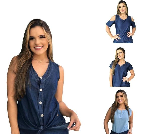 Blusas Feminina Jeans Atacado Do P Ao Gg - Kit 5 Peças