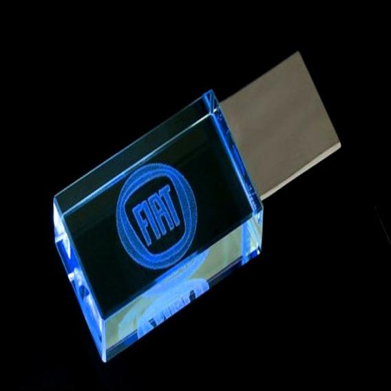 Pen Drive 32gb Cristal Fiat Azul + Caixa Portátil