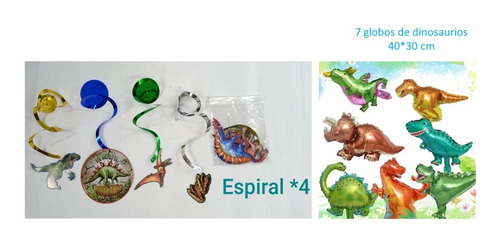 Decoración Fiesta Dinosaurios Espirales*4 + 7 Globos 30*40cm