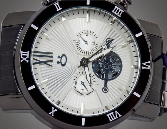 Relógio Orizom Masculino Analógico Prata Luxo Em 12 X Sem Juros