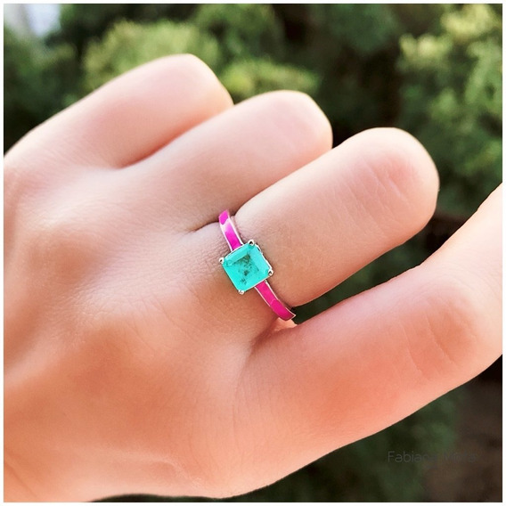 Anel Prata 925 Esmaltado Pink Solitário Pedra Quadrada Turma