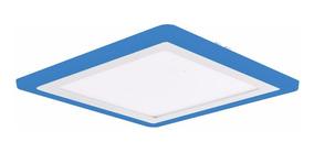 Kit 2 Plafon Quadrado Embutir Led 21w Branco Borda Azul 3078