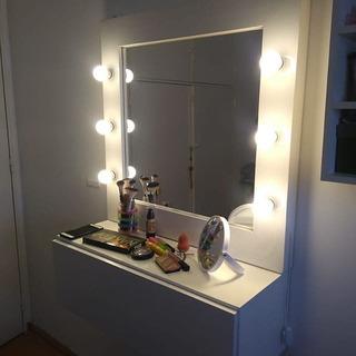 Espejo Hollywood Con Luces 78 Cm + Cajonera Makeup