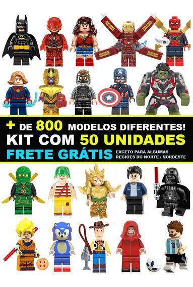 Kit 50 Bonecos Super Herois Marvel Dc Star Wars Compatível
