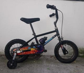 Bicicleta Niño Rodado 12 Negra Rueditas Botella