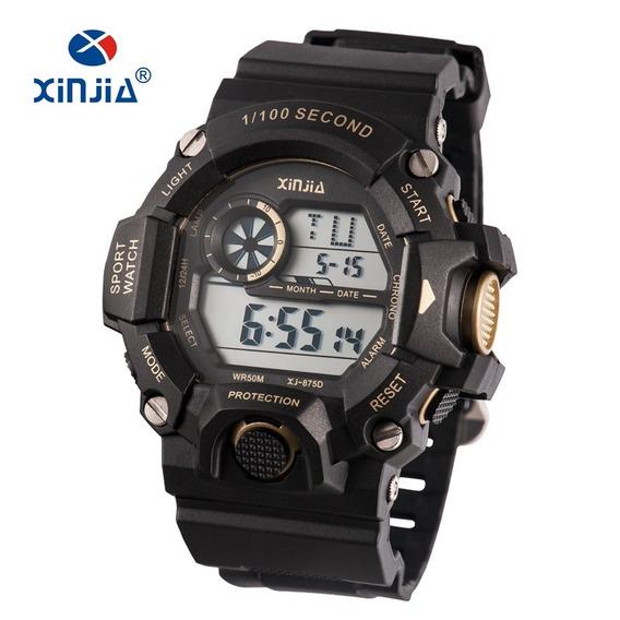 Relógio Masculino Esportivo Preto C/ Dourado Xj-875d Barato