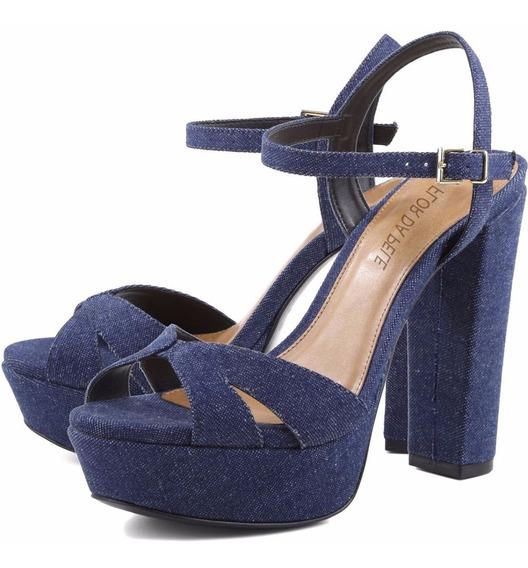 Sandália Salto Alto Estilo Arezzo Jeans