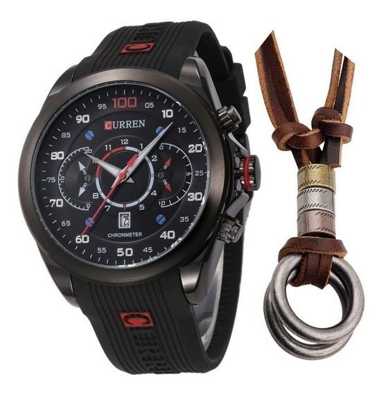 Relógio Masculino Curren Esportivo Preto + Colar Dois Anéis