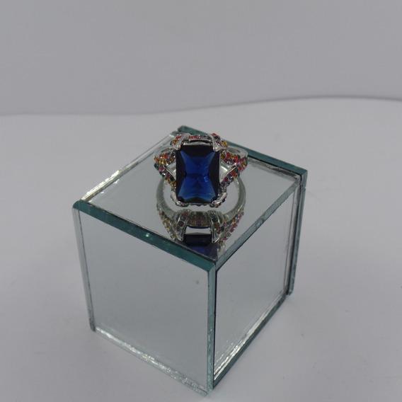 Anel De Pedra Azul Feminino