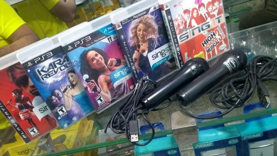 Kit Karaokê 5 Jogos + 2 Microfones Playstation 3