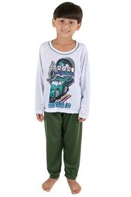Kit 10 Pijama Infantil Masculino Manga Longa Estampado