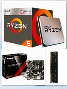 Kit Placa Mãe Asrock A320m-hd + Ryzen 5 2400g + 4gb