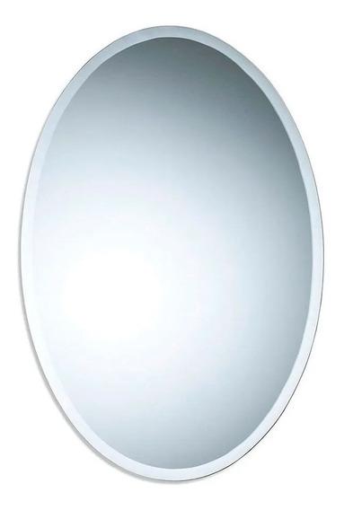 Espejo Oval Biselado 50x70 Cm Baño Living Colgar Vertical