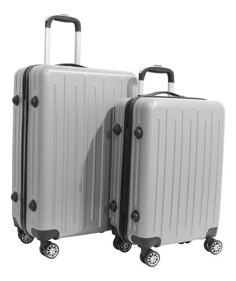 Kit 2 Malas De Viagem Rígidas Em Abs 4 Rodinhas 360