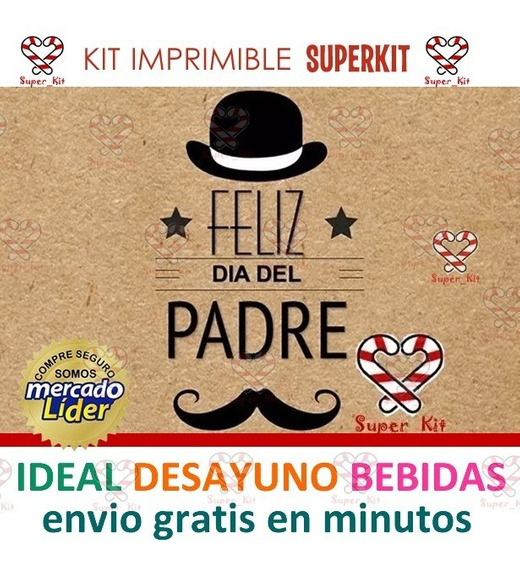 Kit Imprimible Dia Del Padre Ideal Desayuno Editable + 2x1