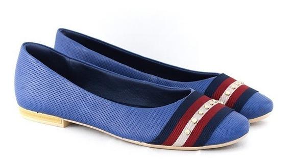 Sapatilha Usaflex Z 9103 Napa Azul / Vermelho Islen Calçados