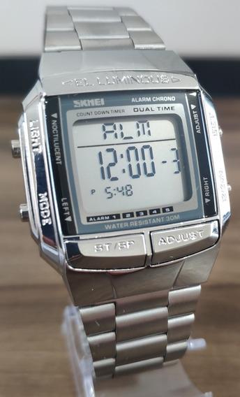 Relógio Digital Original Skmei Prata - A Prova D