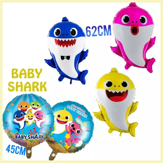 Globos Tiburon Baby Shark X5 Unidades