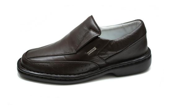 Sapato Couro Masculino Conforto Palmilha Gel Anti Impacto